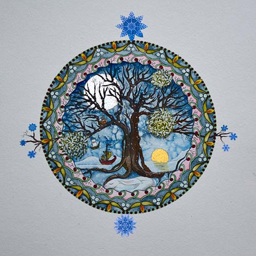Tree of Life for December, Hand Embellished with 24 Ct Gold, 53cm x 53cm