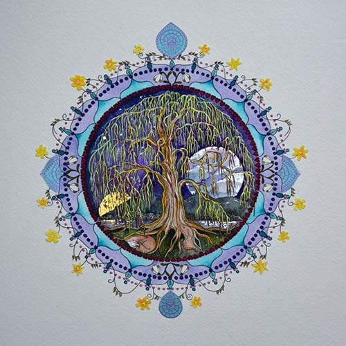 Tree of Life for February, Hand Embellished with 24 Ct Gold, 53cm x 53cm