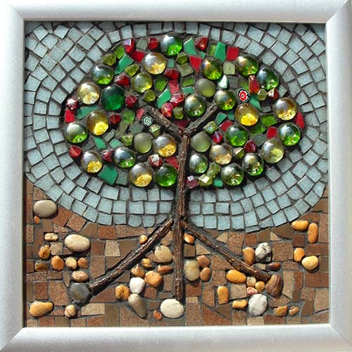 'Glass Bush of All Sorts' Mixed media mosaic 29cm X 29 cm (including frame)