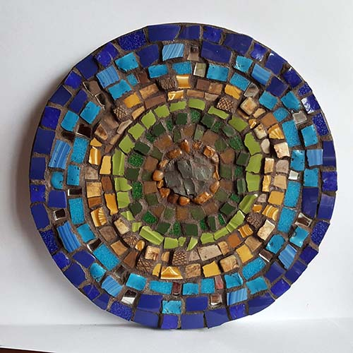 'Island' Mixed media mosaic. 23cm diameter
