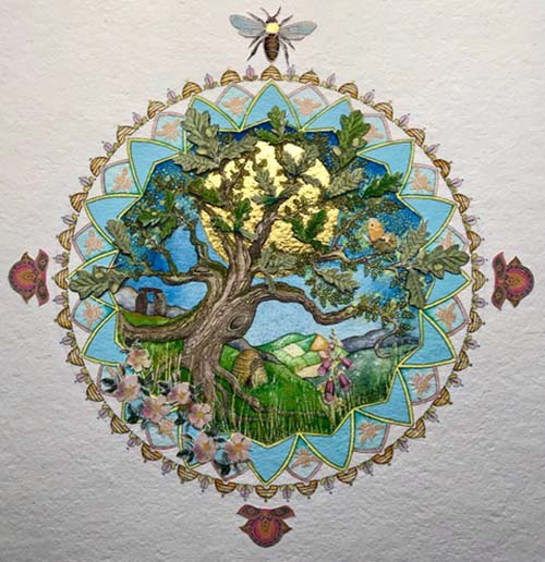 Tree of Life for June Signed Limited Edition Print Hand Embellished with 24 Carat Gold Framed in Solid Oak 53cm x 53cm
