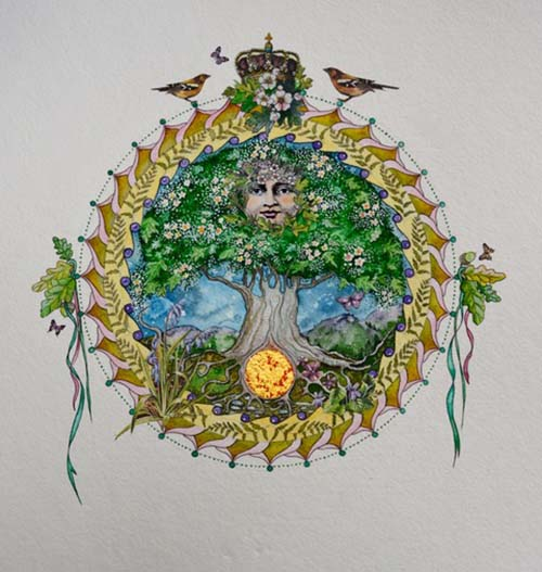 Tree of Life for May Signed Limited Edition Print Hand Embellished with 24 Carat Gold Framed in Solid Oak 53cm x 53cm