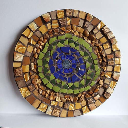'Oasis' Mixed media mosaic. 23cm diameter