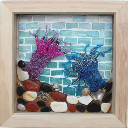 'Sea Anemones' Mixed media mosaic, knitted wire and beads. 19cm X 19cm (including frame)
